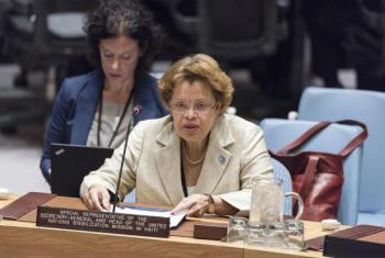 Sandra Honoré no Conselho de Segurança, nesta terça-feira, 11 de abril de 2017. Foto: ONU/Rick Bajornas