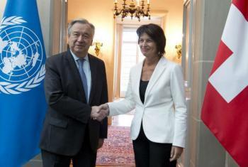 António Guterres e a presidente da Suíça, Doris Leuthard. Foto: ONU/Jean-Marc Ferré