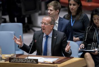 Martin Kobler em reunião no Conselho de Segurança da ONU nesta quarta-feira. Foto: ONU/Rick Bajornas