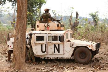 Soldados de paz da Minusca durante patrulha em Bambari. Foto: Minusca