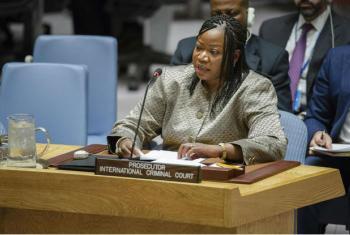 Fatou Bensouda, promotora do Tribunal Penal Internaciona, TPI, fala em reunião do Conselho de Segurança sobre a Líbia. Foto: ONU/Manuel Elias