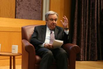 António Guterres em discurso na NYU Stern School of Business. Foto: ONU