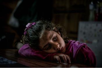 Menina síria de oito anos refugiada em Lesbos, na Grécia. Foto: Unicef:Gilbertson VII Photo