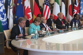 Guterres fala durante encontro do G-7. Foto: ONU/Stephane Dujarric.