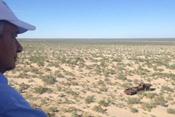 Secretário-geral da ONU, António Guterres visita a região seca do Mar de Aral, no Uzbequistão. Foto: ONU
