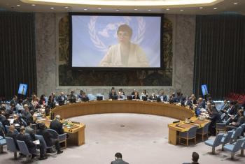 A secretária-geral assistente da ONU para Assuntos Humanitários, Ursula Mueller, fala ao Conselho de Segurança. Foto: ONU/Eskinder Debebe