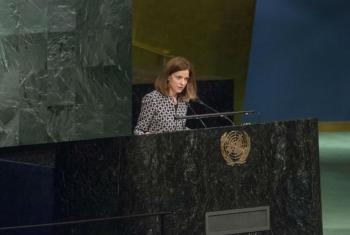 Cristina Pucarinho em discurso na Assembleia Geral das Nações Unidas. Foto: ONU