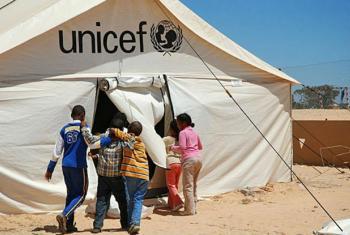 Crianças líbias em acampamento do Unicef. Foto: Unicef