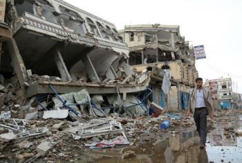 Destruição de prédios na cidade de Saada, no Iêmen. Foto: Ocha/Philippe Kropf