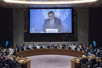 Ismail Ould Cheikh Ahmed participa de reunião no Conselho de Segurança por videoconferência. Foto: ONU/Kim Haughton