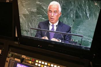 Imagem do discurso do primeiro-ministro de Portugal, António Costa, na 72ª Assembleia Geral. Foto: ONU News