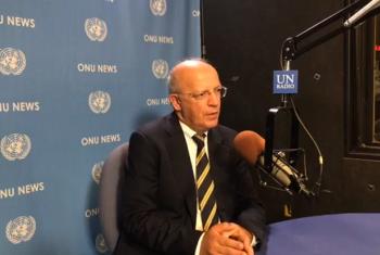 Augusto Santos Silva nos estúdios da ONU News, em Nova Iorque. Imagem: Reprodução vídeo