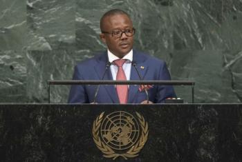 O primeiro-ministro da Guiné-Bissau, Umaro Sissoco Embaló, em discurso na 72ª Assembleia Geral da ONU. Foto: ONU/Cia Pak