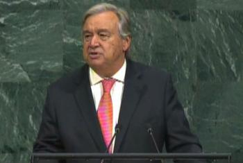 Secretário-geral da ONU, António Guterres, em discurso na Assembleia Geral das Nações Unidas. Imagem: Reprodução vídeo