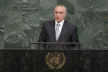 Presidente do Brasil, Michel Temer, discursa na Assembleia Geral das Nações Unidas. Foto: ONU/ Cia Park.