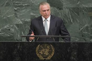 Presidente do Brasil, Michel Temer, em discurso nesta terça-feira na Assembleia Geral da ONU. Foto: ONU/Cia Pak