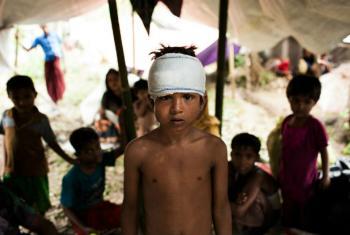 Mohammed Yasin, de oito anos, está entre as crianças rohingya que vivem no campo de Kutupalong, em Cox's Bazar, no Bangladesh. Foto: Unicef/Brown