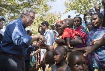 Guterres esteve com deslocados na cidade de Bangassou. Foto: ONU.