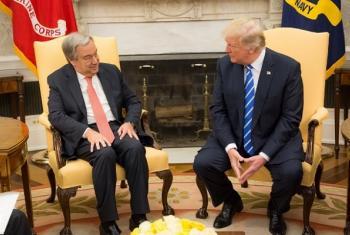 Secretário-geral, António Guterres, com o presidente dos Estados Unidos, Donald Trump. Foto cortesia: US Mission to the UN.