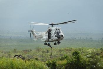 Monusco enviou helicópteros de ataque como medida para reforçar a sua presença em Mamundioma. Foto: Monusco/Force.