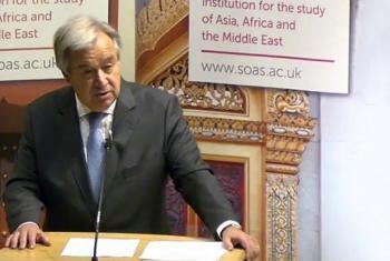 Secretário-geral da ONU, António Guterres, em discurso da Soas, em Londres. Imagem: reprodução vídeo.