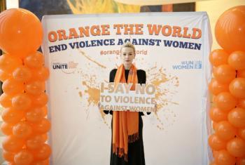 Atriz Carey Mulligan na sede da ONU, em Nova Iorque, em 22 de novembro em evento que marcou o Dia Internacional para Eliminação da Violência a Mulheres. Foto: ONU Mulheres/ Ryan Brown