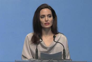 Angelina Jolie em discurso naConferência Ministerial de Defesa. Foto: Reprodução vídeo