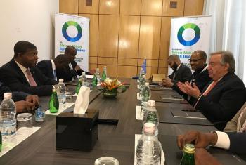 Encontro bilateral juntou António Guterres e João Lourenço em Abidjan. Foto: ONU.