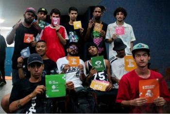 Integrantes do coletivo de músicos Baixada Nunca se Rende. Foto: Centro RIO+, Pnud.