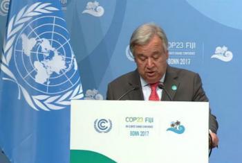 Secretário-geral da ONU, António Guterres, discursa na COP 23 em Bonn, na Alemanha. Imagem: Unfcc