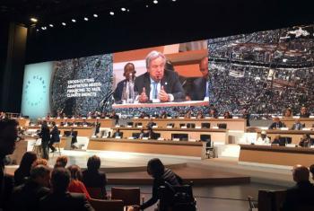 António Guterres em discurso na Conferência One Planet, em Paris. Foto: ONU