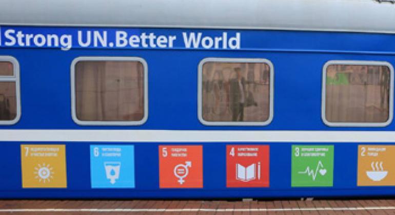Вагон экспресса ООН на вокзале в Минске. Фото ПРООН Беларусь
