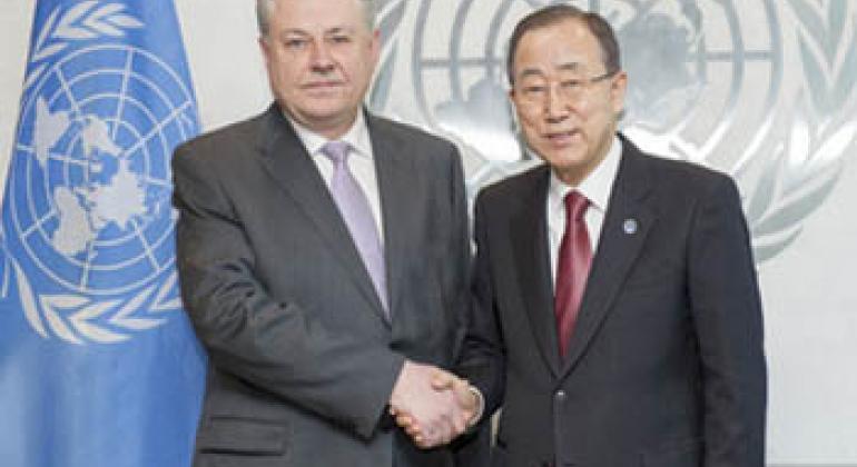 Владимир Ельченко и Пан Ги Мун. Фото ООН