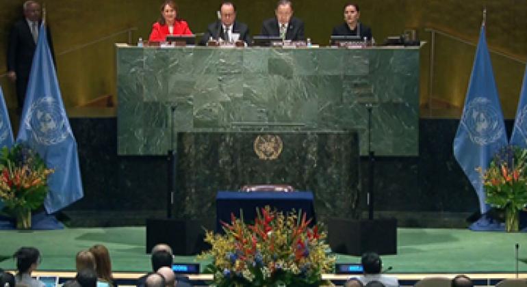 Церемония подписания Парижского соглашения. Фото ООН