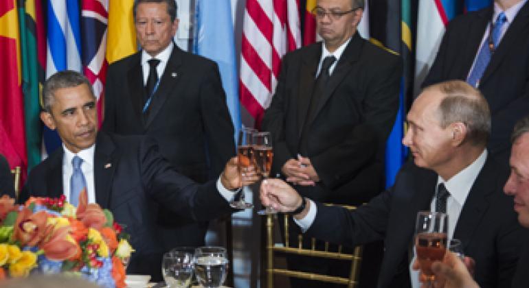 Президенты России и США на торжественном обеде в ООН, 2015 г. Фото ООН