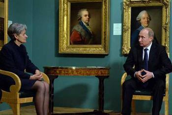 Владимир Путин и Ирина Бокова/Фото ООН