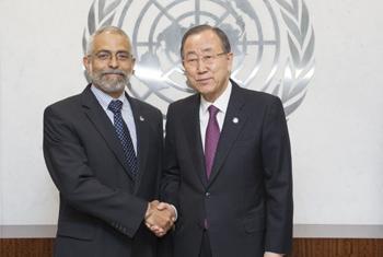 Ленни Монтьель и Пан Ги Мун. Фото ООН