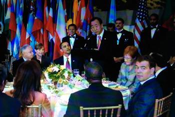 Обед глав государств и правительств, 2009 г. Фото ООН