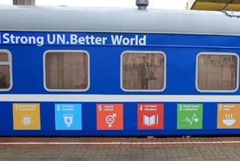 Вагон поезда «70-летие ООН». Фото ПРООН Беларусь