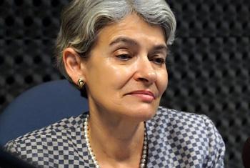 Ирина Бокова в студии Радио ООН. Фото ООН