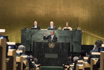 Барак Обама выступает на 71-ой сессии Генассамблеи ООН.   Фото ООН