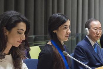 Амаль Клуни, Надия Мурад Баси Таха, Пан Ги Мун. Фото ООН