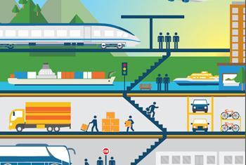 Устойчивая транспортная система. Обложка доклада. Фото ООН
