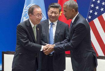 Руководители ООН, Китая и США на церемонии официального присоедиенения США и Китая к Парижскому соглашению. Фото ООН