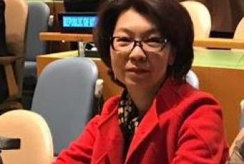 Алина Алдамберген на заседании в ООН