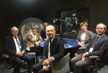 Участники конференции в гостях у Службы новостей ООН. Фото ООН