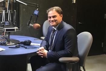 Роман Василенко в студии Службы новостей ООН. Фото Постпредства Казахстана при ООН