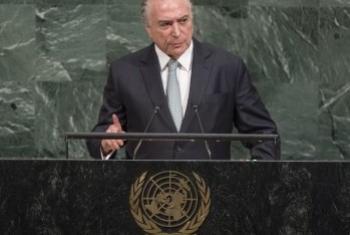 Президент Бразилии Мишел Темер на открытии 72-ой сессии Генассамблеи ООН. Фото ООН