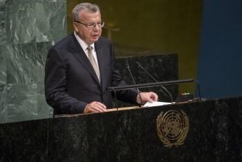 Юрий Федотов на трибуне ГА ООН. Фото ООН