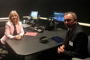 Владимир Макей и Наталья Терехова в студии Службы новостей ООН. Фото ООН
